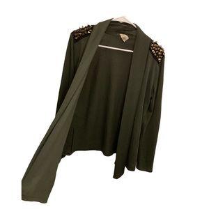 JOYCE LESLIE Army Green Cardigan(gold Stud detail)